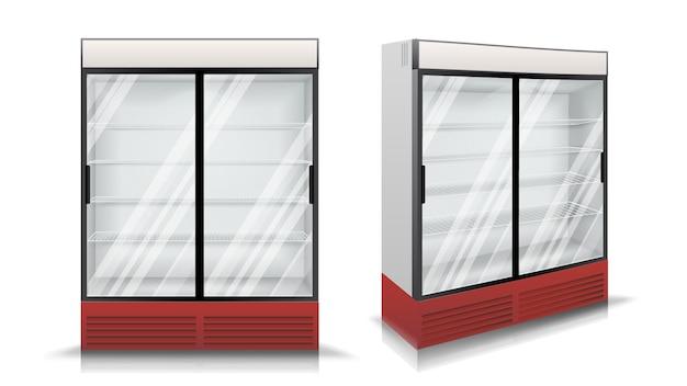 Réfrigérateur avec deux portes coulissantes en verre