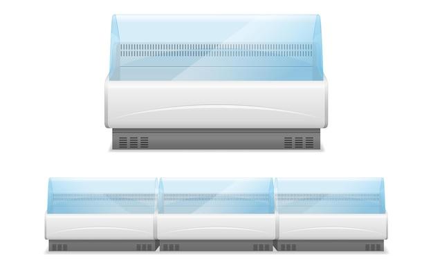 Réfrigérateur de magasin commercial pour refroidir et conserver les aliments sur blanc