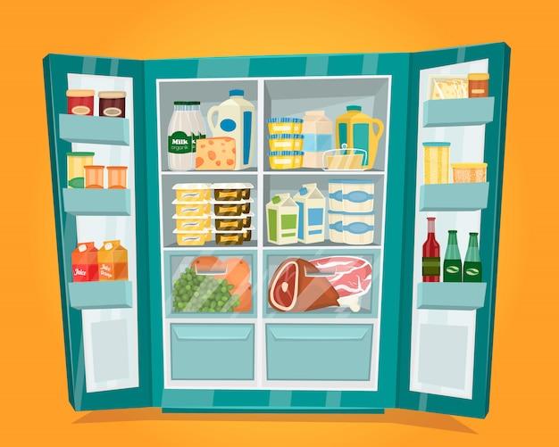 Réfrigérateur plein de vecteur de nourriture au design plat