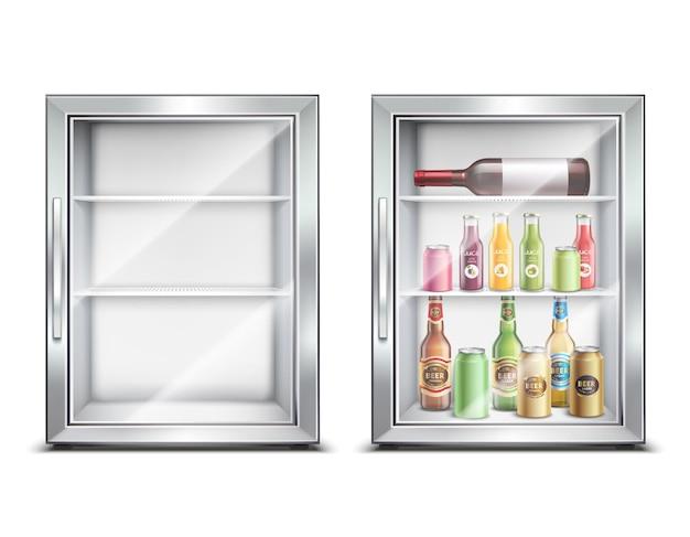 Réfrigérateur réfrigérateur ensemble réaliste avec deux petits mini-bar réfrigérés isolés avec porte brillante
