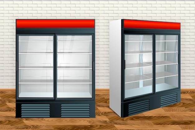 Réfrigérateur avec verre transparent isolé. illustration vectorielle