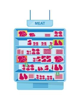 Réfrigérateur à viande pour objet vectoriel de couleur semi-plat de supermarché