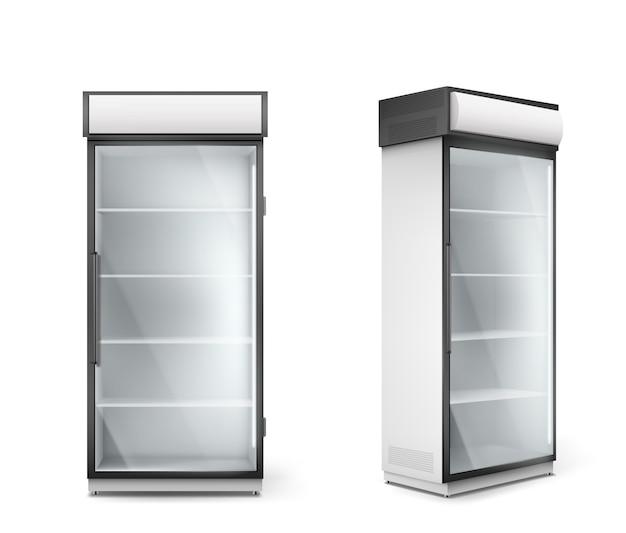 Réfrigérateur vide avec porte en verre transparent
