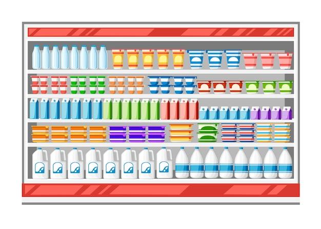 Réfrigérateur Vitrine Pour Le Refroidissement Des Produits Laitiers Vecteur Premium