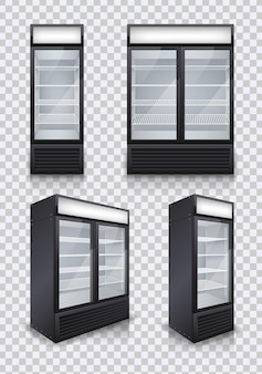 Réfrigérateurs commerciaux de boissons de porte en verre sur transparent