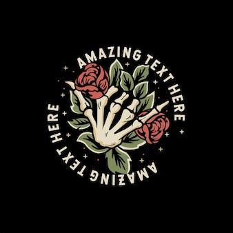 Refroidir la main du crâne avec des roses et des feuilles aroun