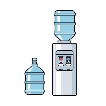 Refroidisseur d'eau en plastique de vecteur de ligne avec bouteille pleine bleue
