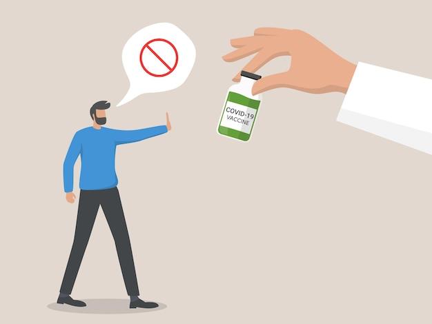 Refus de vaccination médicale. homme rejetant l'injection médicale. refusez les vaccins. manifestation contre la vaccination anti-coronavirus.