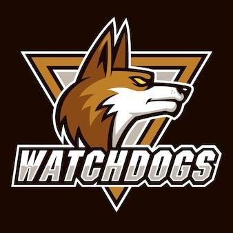 Regarder les chiens signent et vecteur de logo de symbole
