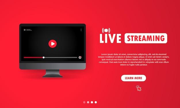 Regarder la diffusion en direct sur l'illustration de l'ordinateur. webinaire en ligne, cours, cours. utilisateur de réseaux sociaux. vecteur sur fond isolé. eps 10.