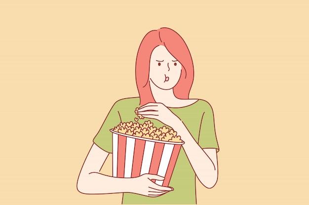 Regarder un film au cinéma concept