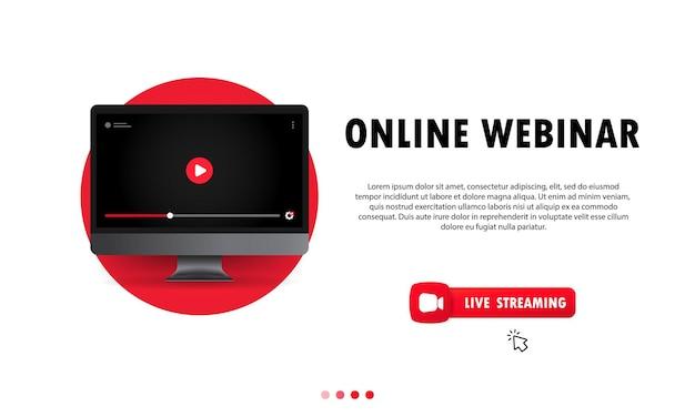Regarder un webinaire en ligne sur l'illustration de l'ordinateur. l'enseignement à distance. cours en ligne, conférence, formation, cours. vecteur sur fond isolé. eps 10.