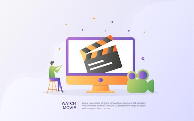 Regardez le concept de film. streaming vidéo et films, divertissement home cinéma.