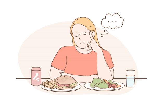 Régime alimentaire, perte de poids, choix, concept de nourriture rapide ou végétalienne