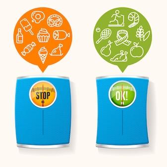 Régime alimentaire sain avant et après le concept. choix de quoi manger.