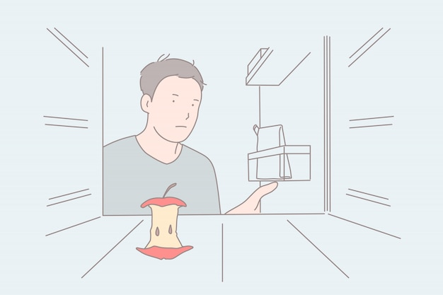 Régime strict, réfrigérateur vide, concept de sensation de faim