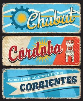 Région de chubut, cordoba et corrientes, provinces argentines
