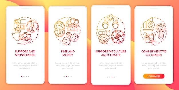 Réglage de l'écran de page de l'application mobile d'intégration de co-conception avec des concepts. modèle d'interface utilisateur en 4 étapes de parrainage, de temps et d'argent avec des illustrations en couleur rvb