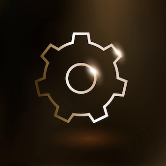 Réglage de l'icône de technologie vectorielle d'engrenage en or sur fond dégradé