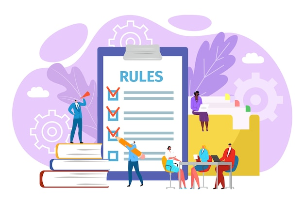 Règles dans le concept de bureau, illustration. réglementation juridique des sociétés. gestion de la conformité et des politiques de l'homme d'affaires. accords et principes de travail, règles en vigueur.