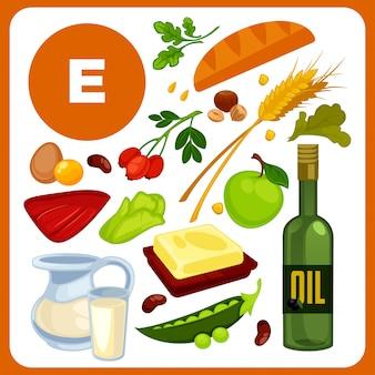 Réglez les aliments avec de la vitamine e.