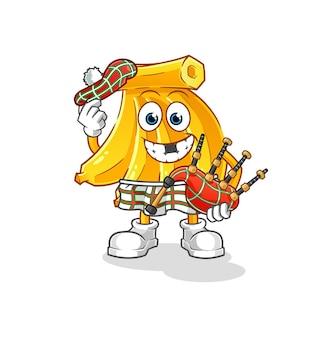 Réglez les bananes écossaises avec des cornemuses. mascotte de dessin animé mascotte de dessin animé
