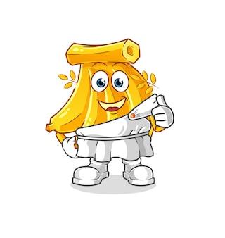Réglez les bananes avec des vêtements grecs. mascotte de dessin animé