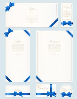 Réglez la carte-cadeau, le certificat et le bon sur la lumière arc cadeau avec ruban jaune et fond. modèle de bon, invitation, cadeau, bannière, certificat ou affiche.