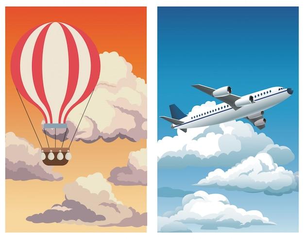 Réglez ciel coucher de soleil ciel airballoon-ciel bleu avion