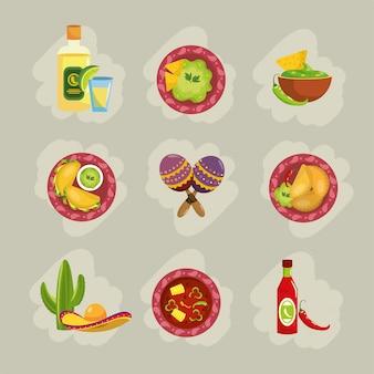 Réglez la cuisine mexicaine traditionnelle avec des sauces et avocat
