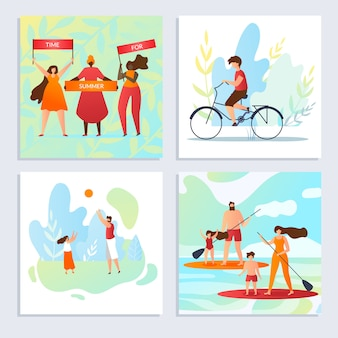 Réglez l'heure pour l'été, vacances avec bande dessinée familiale