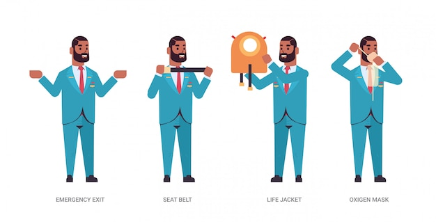 Réglez l'intendant expliquant les instructions avec gilet de sauvetage ceinture de sécurité sortie de secours et masque à oxygène afro-américain agent de bord en uniforme concept de démonstration de sécurité horizontale pleine longueur