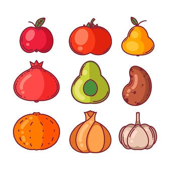 Réglez les légumes et les fruits. style de bande dessinée, illustration vectorielle.