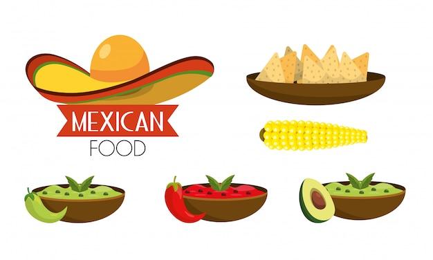 Réglez la nourriture mexicaine avec des sauces épicées