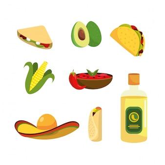 Réglez la nourriture mexicaine avec la tequila et la sauce