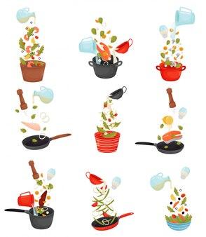 Réglez les produits coupés sont versés dans la casserole. illustration.