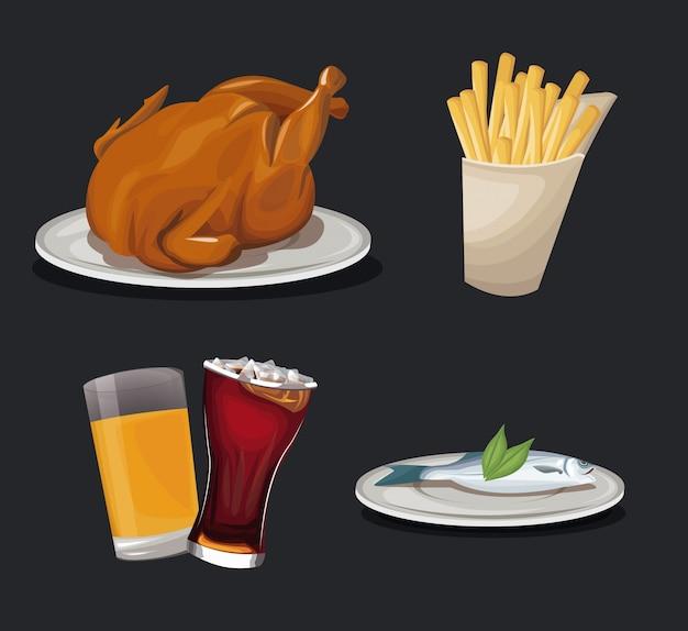 Réglez la restauration rapide. tasse cola poulet fry poisson