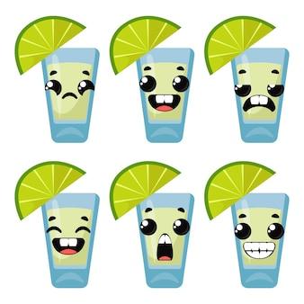 Réglez la tequila avec des émotions. illustration vectorielle en style cartoon.