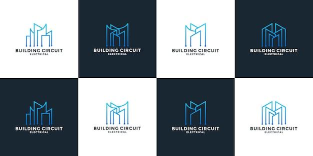 Regrouper le modèle de conception de logo de technologie immobilière