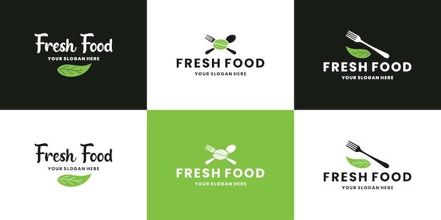 Regroupez des aliments frais, des collections de conception de logos d'aliments naturels