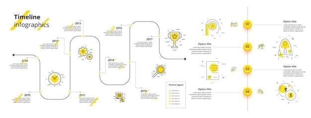 Regroupez les éléments du kit ux de l'interface utilisateur d'infographie avec des diagrammes de diagrammes de flux de travail chronologique en ligne