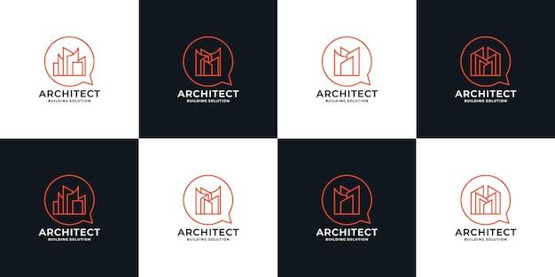 Regroupez l'immobilier, définissez la conception du logo des solutions d'architectes pour votre entreprise ou votre communauté