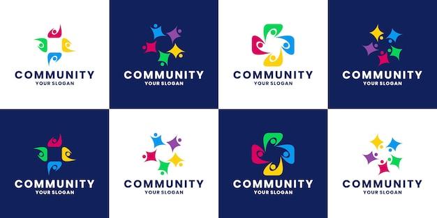 Regroupez les modèles de conception de logo de communauté humaine, de personnes et de groupe d'équipe