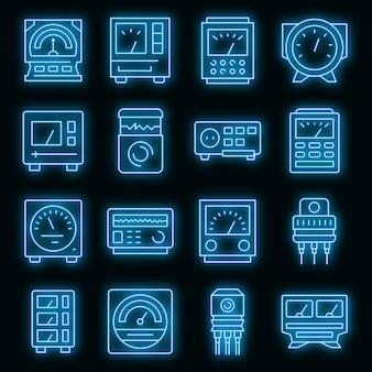 Régulateur de tension icons set vector néon