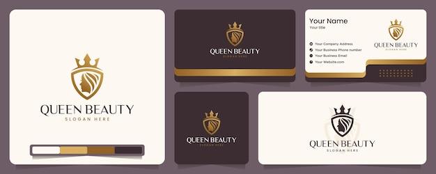 Reine beauté, visage de femme, luxe, couronne, couleur or, bannière et carte de visite, inspiration de conception de logo