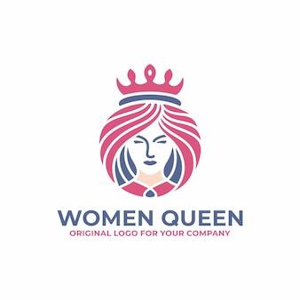 Reine de luxe, femme, visage, salon, modèle de conception de logo beauté.