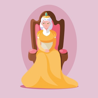 Reine magie de conte de fées assis dans un personnage d'avatar de chaise