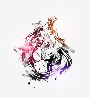 Reine avec un verre de vin, grunge background.