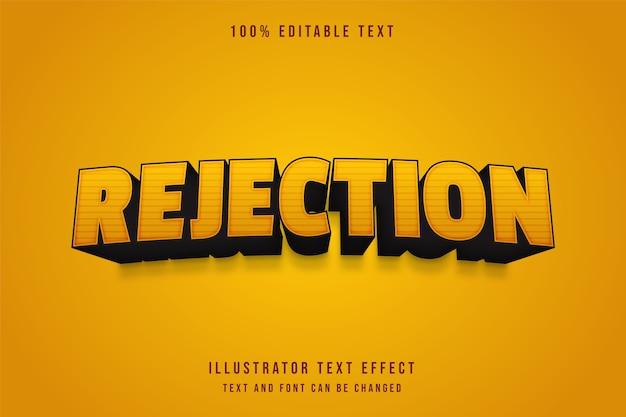 Rejet, effet de texte modifiable 3d effet de style bande dessinée dégradé jaune