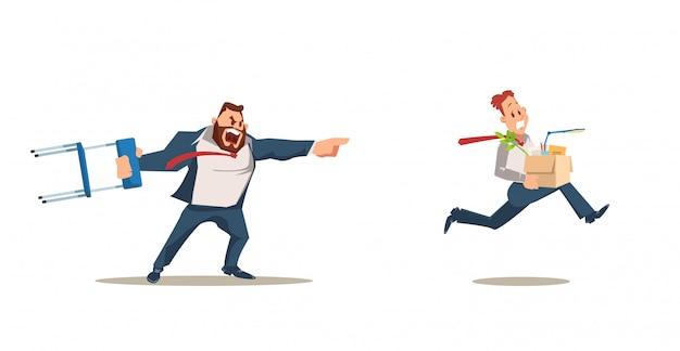 Rejeté, perte d'emploi. employé en colère contre le patron.